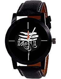 Give And Take New Designer MAHADEV Print Dial Black Leather Belt For Boys Watch-
