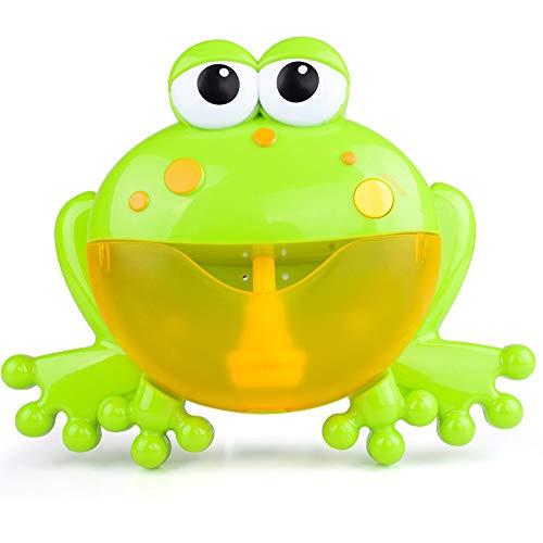 (MMLC Badespielzeug Frösche Bubble Maker Machine, Seifenblasen Seifenblasenmaschine Automatisiertes Auslauf Krabben Bad Bubble Spielzeuggeschenk mit 12 Kinderlied für Jungen, Mädchen (Green))
