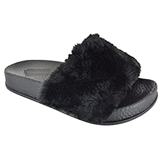 KIDS GIRLS FLAT SLIP ON OPEN TOE RUBBER SLIDER FUR COMFY SLIPPERS SANDALS SHOES