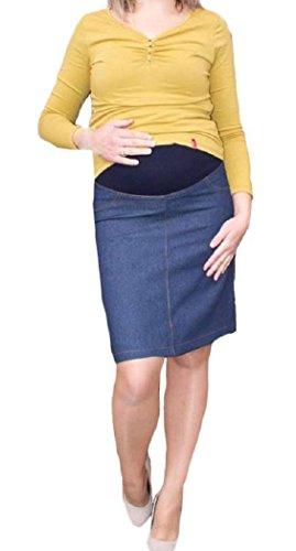 Top Woman Store Jupe de maternité en jean Tailles 36 à 44 Bleu - Noir foncé