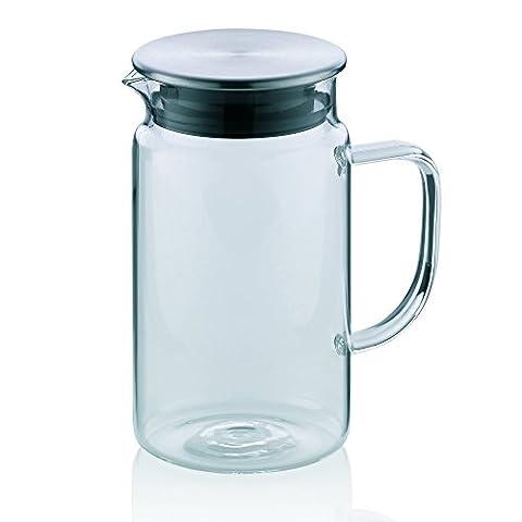 Kela 11395 Saftkrug aus Glas, Edelstahl-Deckel, 1,0 l,