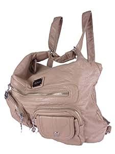 JODY 89297, 2in1 Damen Rucksackhandtasche, Handtasche und Rucksack, 37x28x15cm (beige)