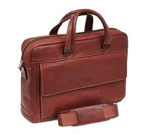 Tony Perotti Sacoche en cuir véritable avec compartiment pour ordinateur portable-Femme-Marron-TP- 9522 BRWN/g