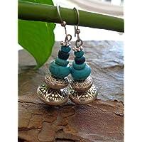 ✿ T/ÜRKISE HOLZ BOHO TRIBAL CREOLEN ✿ Ohrringe im Bali Stil