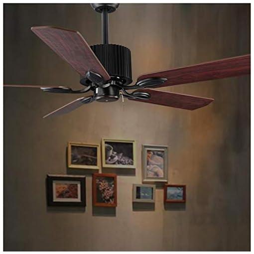 JINWELL LED Ventilatore a soffitto con illuminazione Soggiorno camera Telecomando Loft di alta qualità Ventaglio Lampadario Retrò Sala da pranzo elettrico Muto remoto Ventola foglia Lampada Nero