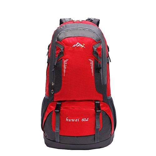 LQABW Outdoor-Spielraum-Schulter Bergwasserdicht Atmungs Wandern Tasche Rucksack 55L Red