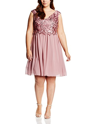 Little Mistress Embroidered Prom, Robe Femme Rose (Dusty Pink)
