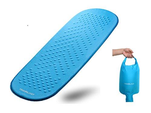 Matelas de couchage auto-gonflant dans un sac à dos imperméable avec une pompe à air - Matelas portable en mousse avec rembourrage supérieur isolant - Idéal pour la randonnée, le camping, les voyages