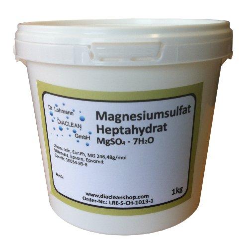 Magnesiumsulfat 1kg - Bittersalz - Epsom Salz - Epsomit - in Pharmaqualität (reiner als Lebensmittelqualität) – Magnesiumbäder - Pflanzendünger zur Grünpflege im Gartenbau