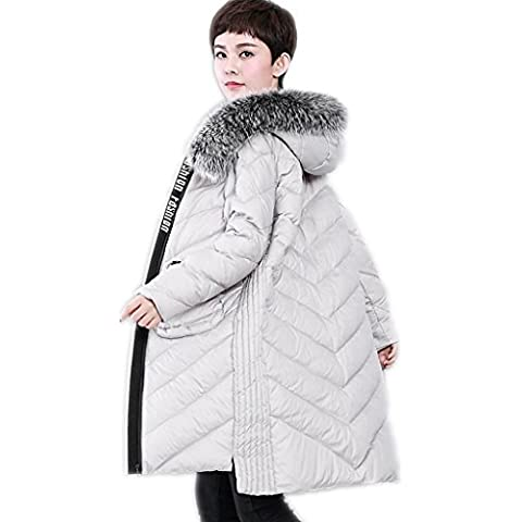 ZYQYJGF Invierno Por La Chaqueta De Cuello De Las Mujeres Puffer Coats Espesado Ligero Irregular Outwear Encapuchada De La Piel Floja Del Color Sólido . 2 . L