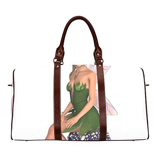 Fee, die auf wasserdichter Weekender-Pilztasche sitzt Tragetasche für über Nacht Frauen-Damen-Einkaufstasche mit Mikrofaser-Leder-Gepäcktasche ()
