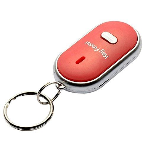 Trova chiavi con fischietto con torcia LED Telecomando trova chiavi con allarme Trova portafogli portachiavi Cerca oggetti Dispositivo per telefono, chiavi, valigie, borsellini e altro medium Red