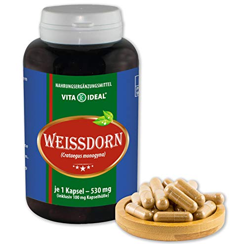 VITA IDEAL ® Weissdorn-Beeren (Crataegus monogyna) 360 Kapseln je 530mg, aus rein natürlichen Kräutern, ohne Zusatzstoffe
