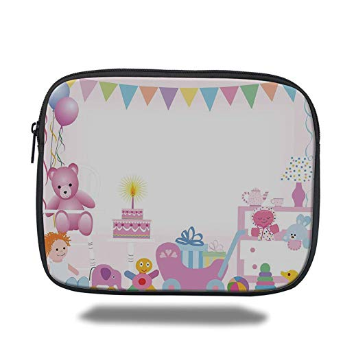 Tablet Bag for Ipad air 2/3/4/mini 9.7 inch,Birthday Decorations for Kids,Baby Girl Birthday Celebraiton Party with Flags Bears Toys,Light Pink,3D Print - Zwei Pocket Case Top-loading