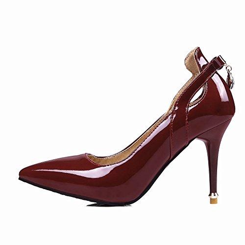 Mee Shoes Damen Stiletto spitz mit Strass Pumps Weinrot