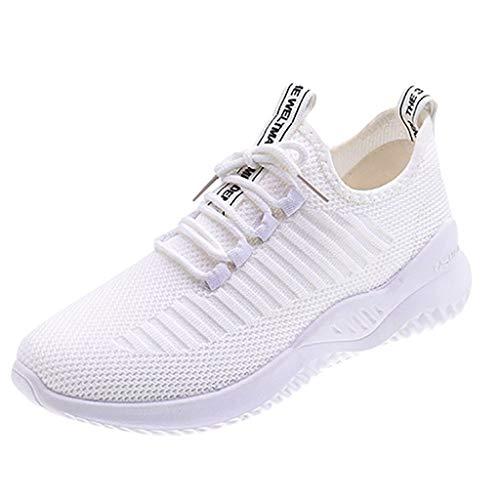 Damen Sportschuhe Fliegen Weben Sneaker Socken Schuhe Turnschuhe Freizeitschuhe Student Schnürschuhe Laufschuhe, Weiß