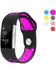 Hanlesi Fitbit Charge 2 Armband, Silikagel Ersetzerband Fitness Verstellbares Uhrenarmband für Fitbit Charge 2 Ersatz Armbänd