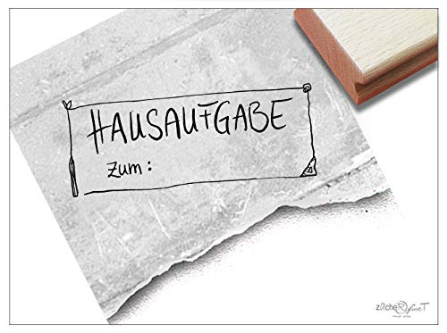Stempel Lehrerstempel HAUSAUFGABE ZUM: - Textstempel in Handschrift Schule Schulheft Motivation Kinder Schulstempel für Lehrer - zAcheR-fineT