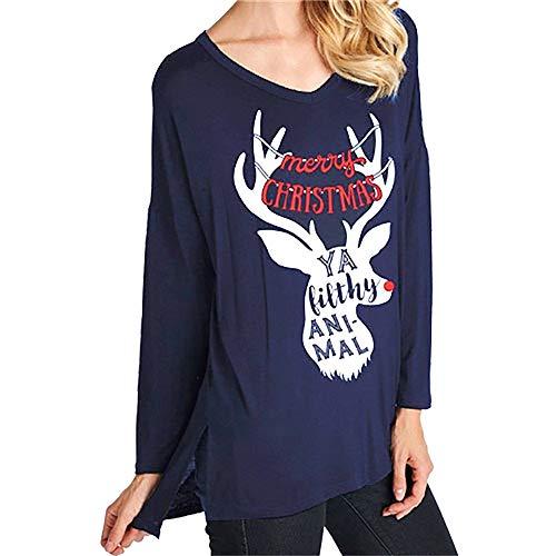 Huihong Damen Bluse Weihnachten  Brief Elch Kopf Drucken Langarm Mode T Shirt Pullover Lose Tops Sweatshirt (Blau, XL/EU:40) (Lose Elch Kostüm)