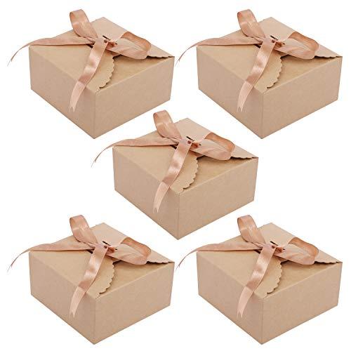 Cajas Cartón kraft Marrón 50 Piezas - Cajas Regalo Carton con Cinta Raso 5m para Bodas, Baby Shower...