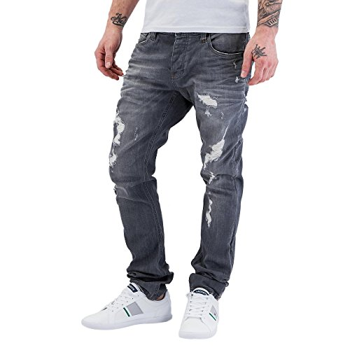 Red Bridge Herren Jeans / Straight Fit Jeans Destroyed Schwarz