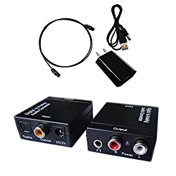 Digital to Analog Audio Converter with Digital Optical Toslink and S/pdif Coaxial Inputs and Analog RCA and AUX 3.5mm (Headphone) Outputs - 6 Foot Heavy Duty Optical Toslink Cable with Gold Plated Connector Tips Included