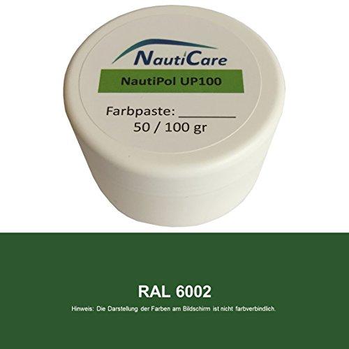 NautiCare NautiPol up 100 Farbpaste 100 g - Farbe Laub-Grün RAL 6002 - Farb-Paste Zum Einfärben von Polyesterharz - 35 RAL Farben zur Auswahl - Grün-polyester-mischung