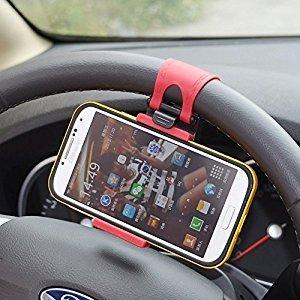 MMOBIEL® Porta móvil/clip/soporte universal para ajustar al volante y hacerlo manos libres (hands free) para for iPhone 4 5 5S 6 6S 6 7 Plus Samsung S3 S4 S5 S6