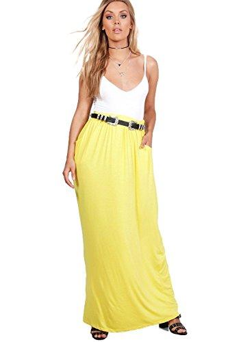 Gelb Damen Plus Rae Maxirock Aus Jersey Mit Vorderseitigen Taschen - 24