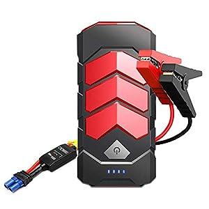 BOTKK Arrancador de Coche, 16500mAh 650 A Jump Starter 12 V para 5.5 L Gasolina o Diesel 4.0 L ,Arranque Batería para vehículo con Pinzas inteligentes, Bateria Externa, LED, Toma de mechero