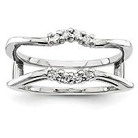 IceCarats® Designer Jewellery Size L 1/2 14K White Gold Aa Diamond Guard