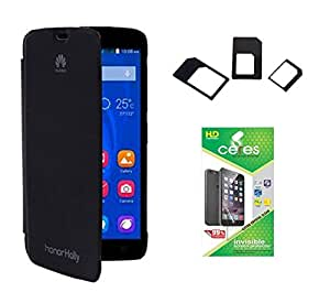 Ceres Flip Cover For Huawei Honor Holly With Ceres HD Screen Guard & Multi Sim Adapter(BLACK)
