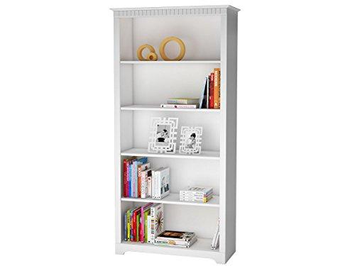 ELIZABETH Bücherregal Regal Groß Büroregal 91 x 38 x 186 cm, Kiefer massiv, weiß,