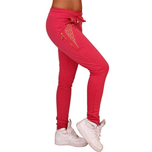 Nieten Jogging Sport Hose Reißverschluss Röhre Tregging Leggings eng Bund 9561 Pink