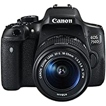 "Canon EOS 750D - Cámara réflex digital de 24.2 Mp (pantalla 3"", estabilizador óptico, vídeo Full HD), color negro - Kit con objetivo EF-S 18-55 mm IS STM"