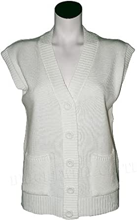 Womens Sleeve Less Knitted Cardigans Waistcoat V Neck Button Cardigan (X-Large, Cream)
