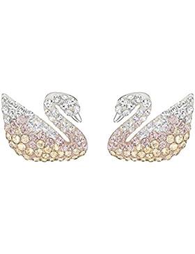 Swarovski Damen-Ohrklemme Platiniert Kristall mehrfarbig Rundschliff-5215037