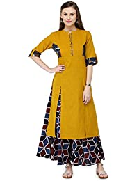 Varanga Women's Mustard Cotton Solid Kurta With Palazzo