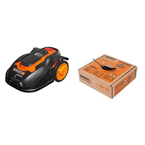 Worx Landroid M1000i Mähroboter – Automatischer Rasenmäher für bis zu 1000 qm  – 55 x 38,5 x 26 cm (L x B x H) & WA0177 Begrenzungsdraht für Landroid Mähroboter