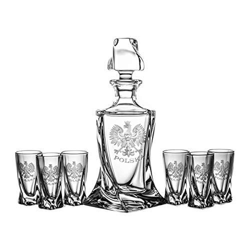 Crystaljulia 5757 - Set di bicchieri da vodka e caraffa, colore: Trasparente