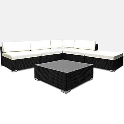 Deuba 6 pcs. Poly Rattan Garden Furniture Set 7cm Cushions Black Outdoor Patio