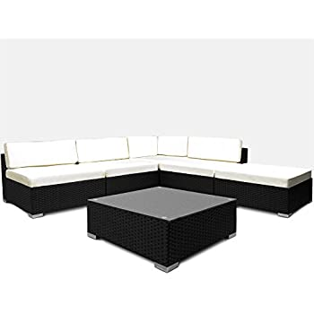rattan garden furniture set sofa lounge black polyrattan. Black Bedroom Furniture Sets. Home Design Ideas