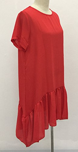 Damen Kleider Midikleid Sommerkleider Freizeitkleid Kurzärmelig 2017 Neue O Ausschnitt Lockere Dünn Durchsichtig Uni-Farben Die Rot