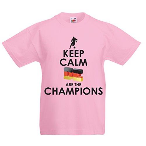 Kinder Jungen/Mädchen T-Shirt Deutsche sind die Champions - Russland-Meisterschaft 2018, WM-Fußball, Team von Deutschland Fan-Shirt (1-2 Years Pink Mehrfarben)