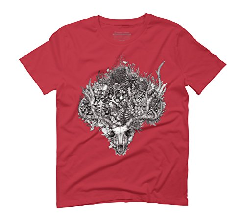 Life's Mystery: The Deer Skull Men's Graphic T-Shirt - Design By Humans Red