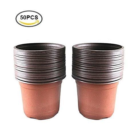 G2plus Lot 50pcs Plastique Plante/pots de fleurs 15cm de graines de plateau Idéal pour jardinier