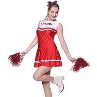 Anladia - Disfraz de animadora Para Adulto Mujer Mini Vestido Rojo con Pompones Talla 38 40 42 (M)