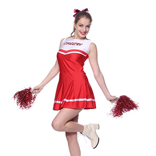 Imagen de anladia  disfraz de animadora para adulto mujer mini vestido rojo con pompones talla 38 40 42 m