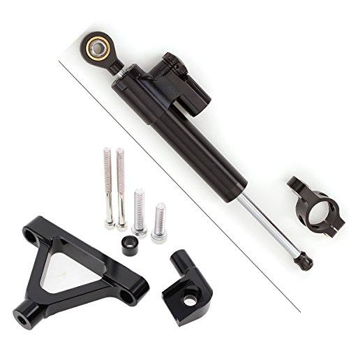 06 Rapide Pro Moto CNC Amortisseur de direction r/églable et support kit de montage pour Kawasaki Zx-6r Zx6r 05