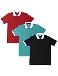 Fleximaa Men's Cotton Polo Collar T-Shirts With Pocket Opposite Color Collar & Cuff (Pack Of 3) - Black, Red &...